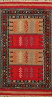 Geometric Hand-woven Sumak Kilim Nomad Area Rug Wool Oriental Kitchen Carpet 4x6