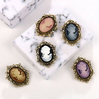 Gorgeous Vintage Oval Cameo Pearl Crystal Brooch Pin Flower Women Wedding Bridal