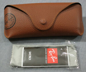 Ray Ban Genuine Brown Sunglass Eyeglass Wide Case with Logo Cleaning Cloth NEW