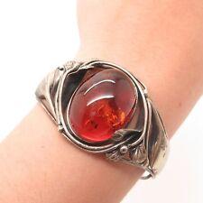 "Vtg Europe Sterling Silver Large Amber Gemstone Handmade Bangle Bracelet 6 3/4"""