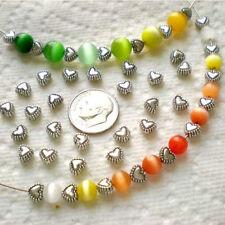 50pcs Tibetan Silver Sweet Heart Spacer Metal Beads 6mm LW