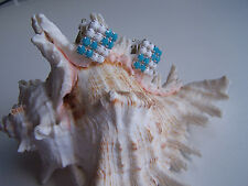 50er years Earrings Clips Vintage Blue/White Fashion Jewellery (39)