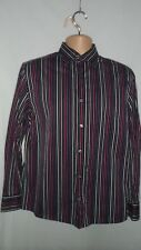 MENS NEXT SHIRT - BLACK WITH PINK AND PURPLE STRIPES - SIZE MEDIUM