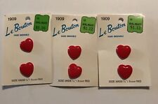 """Six Heart Shaped Buttons vintage 3 cards Red Le Bouton 3/4"""" Valentine old stock"""