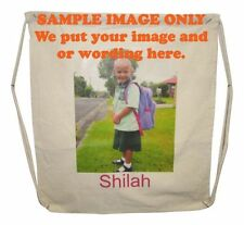 Cotton Bag Drawstring with your custom image and or text on it.