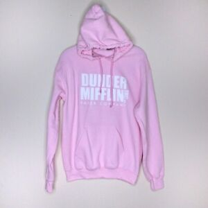 The Office Hoodie Small S Dunder Mifflin Pink Graphic Kangaroo Pocket Pullover