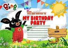 Bing Hase kinder Geburtstagsfeier Einladungen X 10 KARTEN + umschläge