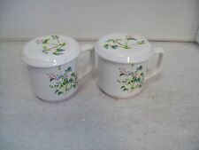 Set of Four Floral Ceramic China Teacups with Lids 5M82 Free Shipping B12