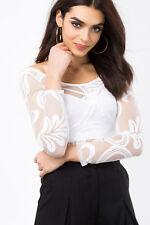 White / Ivory Damask Burnout Bodysuit mesh sheer long sleeves snaps thong S M L