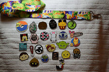 Disney trading 25 pin lot + Green Purple Tinkerbell LANYARD Mickey Star Wars