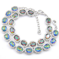 2 pcs 1 Lot  Rainbow Fire Topaz Gemstone Vintage Silver Charm Bracelets Set