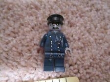 Lego Zombie driver mini figure blue brown black hat grey
