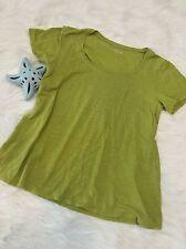 Eileen Fisher women top XS green knit shirt top 100% organic linen tshirt