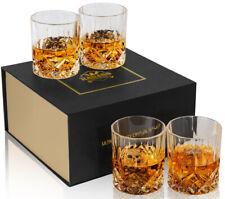 KANARS Whiskey Glasses Set of 4 Old Fashioned Scotch Tumbler w/ Gift Box 10 Oz