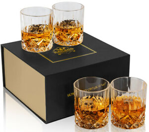 KANARS Whiskey Glasses Set of 4 Old Fashioned Cocktail Scotch Tumbler Cups 10 Oz