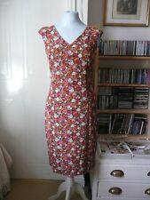 Laura Ashley floral silk knee length dress, petite size UK 6