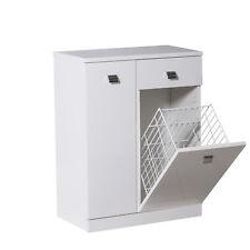 Base 60 cm multiuso con cesto porta biancheria e cassetto legno bianco lucido