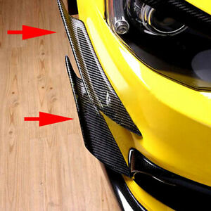 4X Carbon Fiber Car Bumper Fin Canard Splitter Diffuser Valence Spoiler Lip L+R