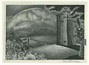 Harold Hahn etching, Peeking In, pencil signed, very strange!!!