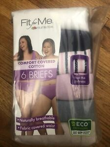 Fruit of the Loom Fit For Me Cotton Women's Panties 6-Pack Underwear Sz 12 26-28