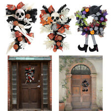 Halloween Skeleton Wreath Themed Party Fake Leaf Door Decoration Wall Decor