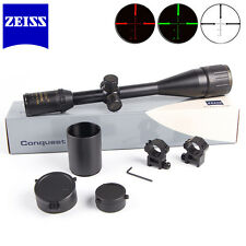 Zeiss Conquest Rifle Scope 6-24x50AO R&G Illuminated HD Sight 20mm Mounts Black
