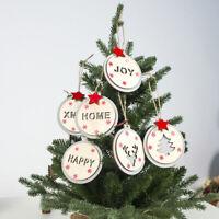 Round Wooden Christmas Pendants Christmas Tree Ornaments Xmas Party Home Decor