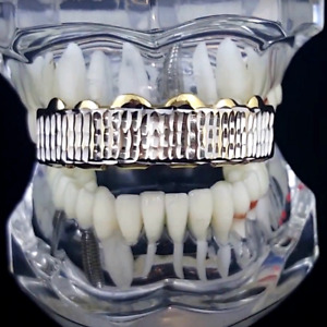 Mens 14k Gold Plated Diamond-Cut Grillz Top Six Teeth Two Tone Hip Hop Grills