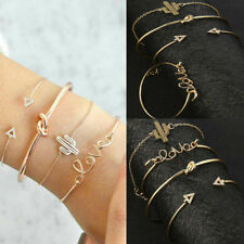 4Pcs Leaf Knot Love Cactus Opening Bracelet Set Vintage Women Bangle Jewelry