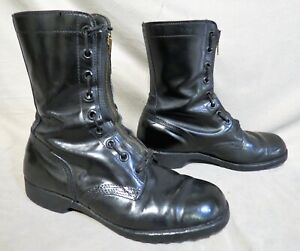 VTG 1974 UNBRANDED PARATROOPER JUMP BLACK LEATHER COMBAT MILITARY BOOTS 9.5 W
