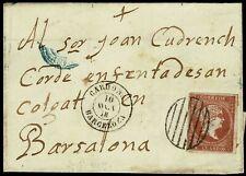 1868.Ed:48.Carta.Isabel II.Cardona-Bcn.Matasello Parrilla Negra.Fechadores
