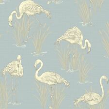 VINTAGE LAGOON FLAMINGO WALLPAPER - SOFT BLUE - ARTHOUSE 252605 NEW LUXURY