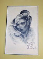 Rare Vintage JAMES RUSSELL Mardi Gras Lady New Orleans 1985 Artist Framed