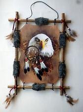 Indianer Druck Bild Adler auf Rundholzrahmen Kunstfell Federn Perlen 45 x 34