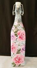 Oil Vinegar Cruet Bottle Dispenser Pink Purple Roses Shabby Chic Hand Painted
