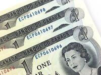 1973 Canada 1 Dollar Circulated ECP Crow Bouey 3 Consecutive Banknotes N701