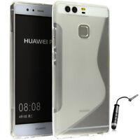 Huawei P9 Lite Tasche Schale Schutzhülle Silikon S-Line Clear +Folie