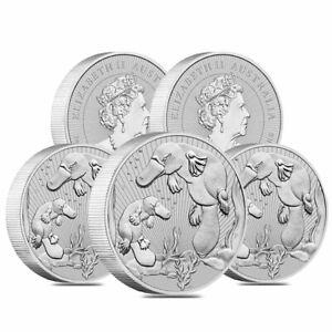 Lot of 5 - 2021 2 oz Silver Piedfort Platypus Perth Mint BU Next Generation