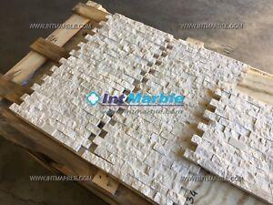 Marble Mosaic Tiles, Crema Marfil Split Face Mosaic, Wall, Limestone, 25x50x20mm