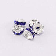 50pcs 6mm Rhinestone Rondelles Crystal Loose Spacer Beads for DIY Jewelry Making