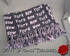 New York Cashmere Fringed Shawl Lavender or Orchid and Black