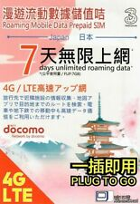 Japan 7 Days Unlimited Data Docomo Prepaid Travel SIM Card 4G Hotspot Sharing US