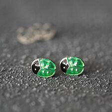 Neu 925 Silber OHRSTECKER MARIENKÄFER in grün KINDER OHRRINGE Ladybug LADYBUGS