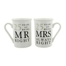 Silver 25th Anniversary China Mugs Mr Right & Mrs Always Right Gift (Set of 2)