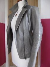 Ladies NEXT grey Leather Biker Jacket coat size UK 10 8 bomber distressed