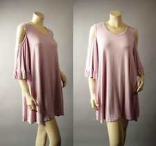 Made in USA Pink Open Shoulder Romantic Feminine Blouse 266 mv Tunic XL 2XL 3XL