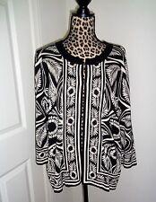 AVENUE Black Ivory Floral Cardigan Knit Sweater Size 18/20