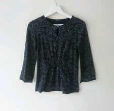 Joseph Womens Black Butterfly Print 3/4 Sleeve Ruched Stretch Top size 1 UK 8