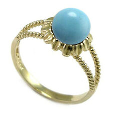 14k Solid Yellow Gold Genuine Turquoise Ring #R2057