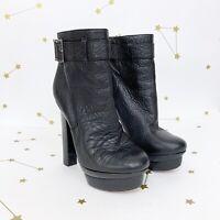 Rachel Zoe Boots Size 9 Black Pebbled Leather Platform High Heel Buckle Ankle